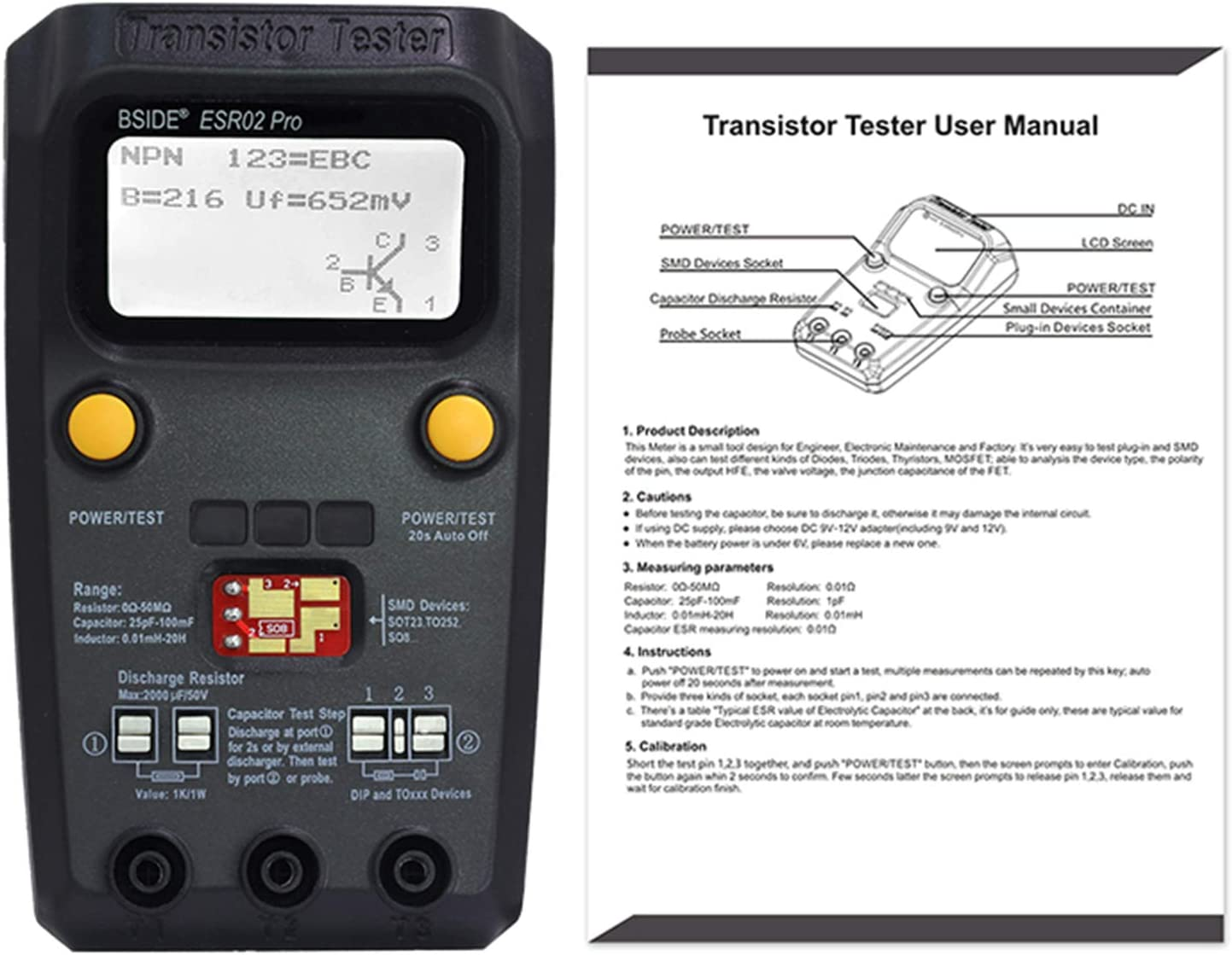 LCR-TC1 TFT Screen Display Multi-functional TFT Backlight Transistor Tester  TY