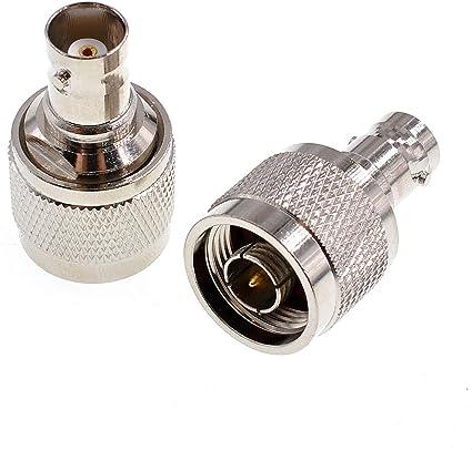 Oiyagai 2 conectores N macho a BNC hembra, conector tipo N macho a conector BNC a conector coaxial RF, conector convertidor de antena para radio ...