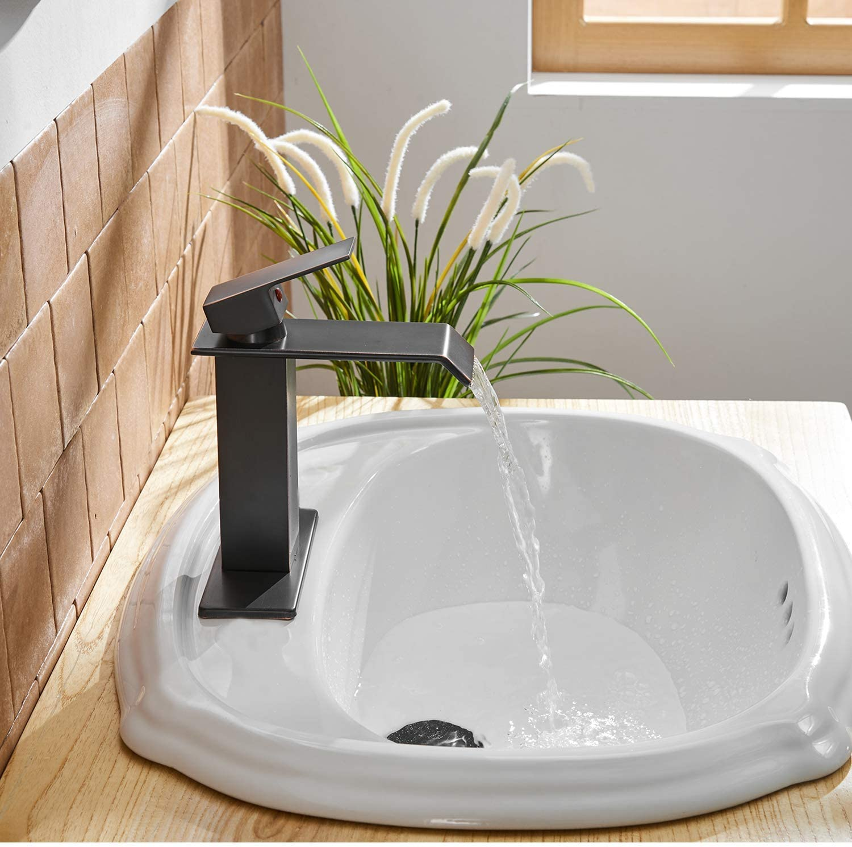 Single Lever Bathroom Sink Clear Glass Spout Mixer Faucet Deck Mounted e1