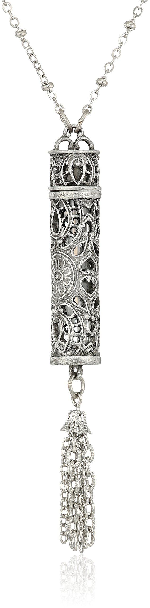 1928 Jewelry Womens Pewter Filigree Vial with Tassle Necklace Pendant Enhancer, 28