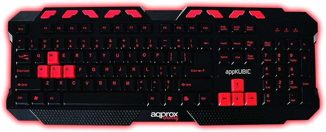 Approx appKUBIC USB QWERTY Negro, Rojo - Teclado (Estándar, Alámbrico, USB, QWERTY, Negro, Rojo)