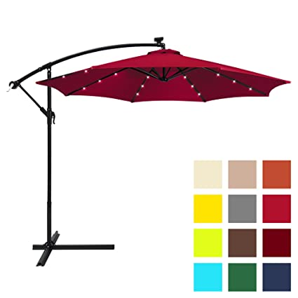 f61539589a4f89 Best Choice Products 10ft Solar LED Offset Hanging Market Patio Umbrella  w/Easy Tilt Adjustment, Polyester Shade, 8 Ribs for Backyard, Poolside -  Burgundy