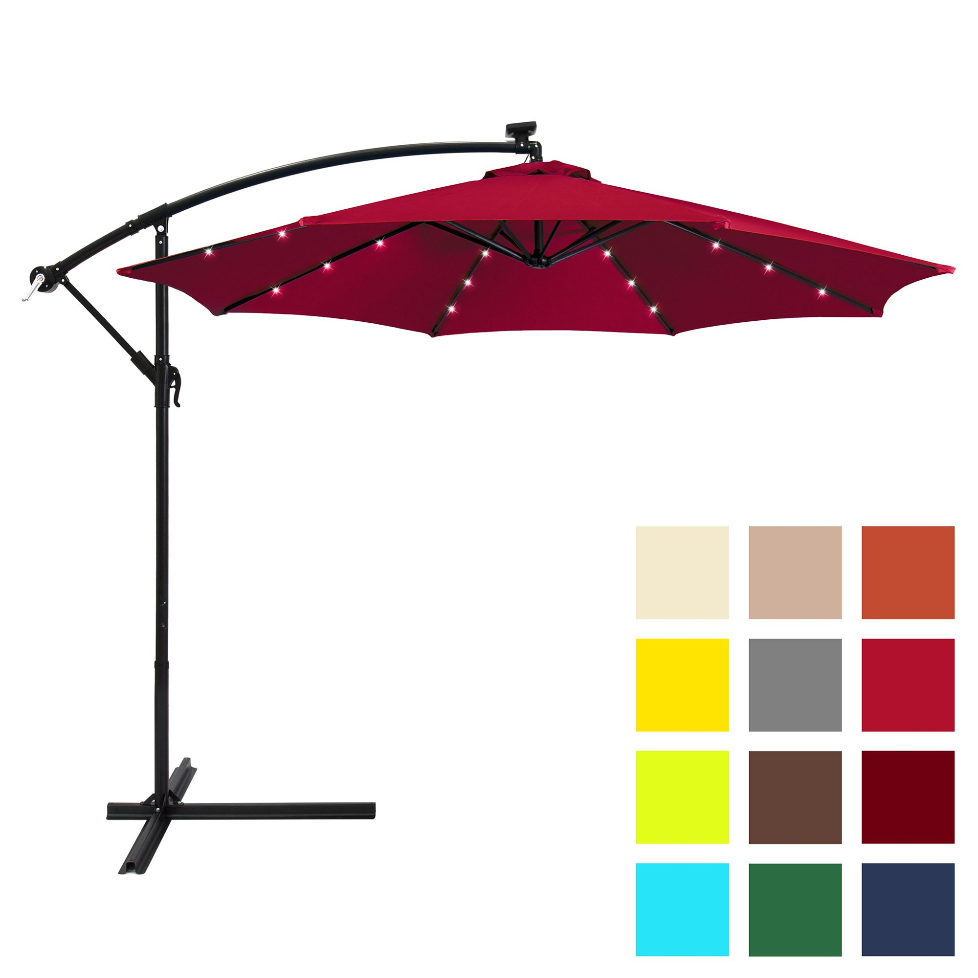Best Choice Products 10ft Solar LED Patio Offset Umbrella w/Easy Tilt Adjustment - Burgundy