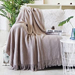 """ALPHA HOME Cable Knit Throw Blanket Acrylic Cozy Snuggle TV Bed Sofa Throw for Adults and Kids,50''×60"""",Khaki"""
