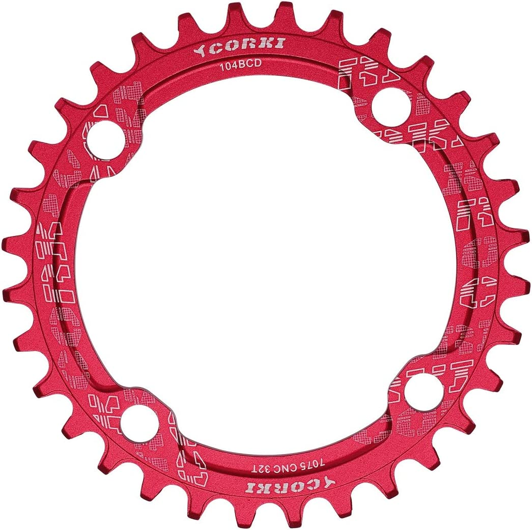 corki Single Speed Narrow Wide Chainring 32T 34T 36T 38T Round for 104 BCD Crankset