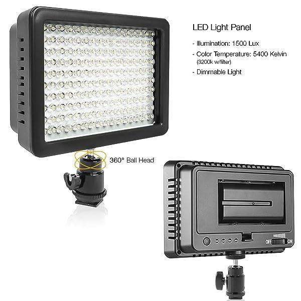 LUZ DE VIDEO LED LIMOSTUDIO 160 PARA CÁMARA DIGITAL DSLR, videocámara, valor de lumen de alto brillo, interruptor regulable con gel de filtro de color, batería y cargador y bolsa de transporte incluida, AGG1318