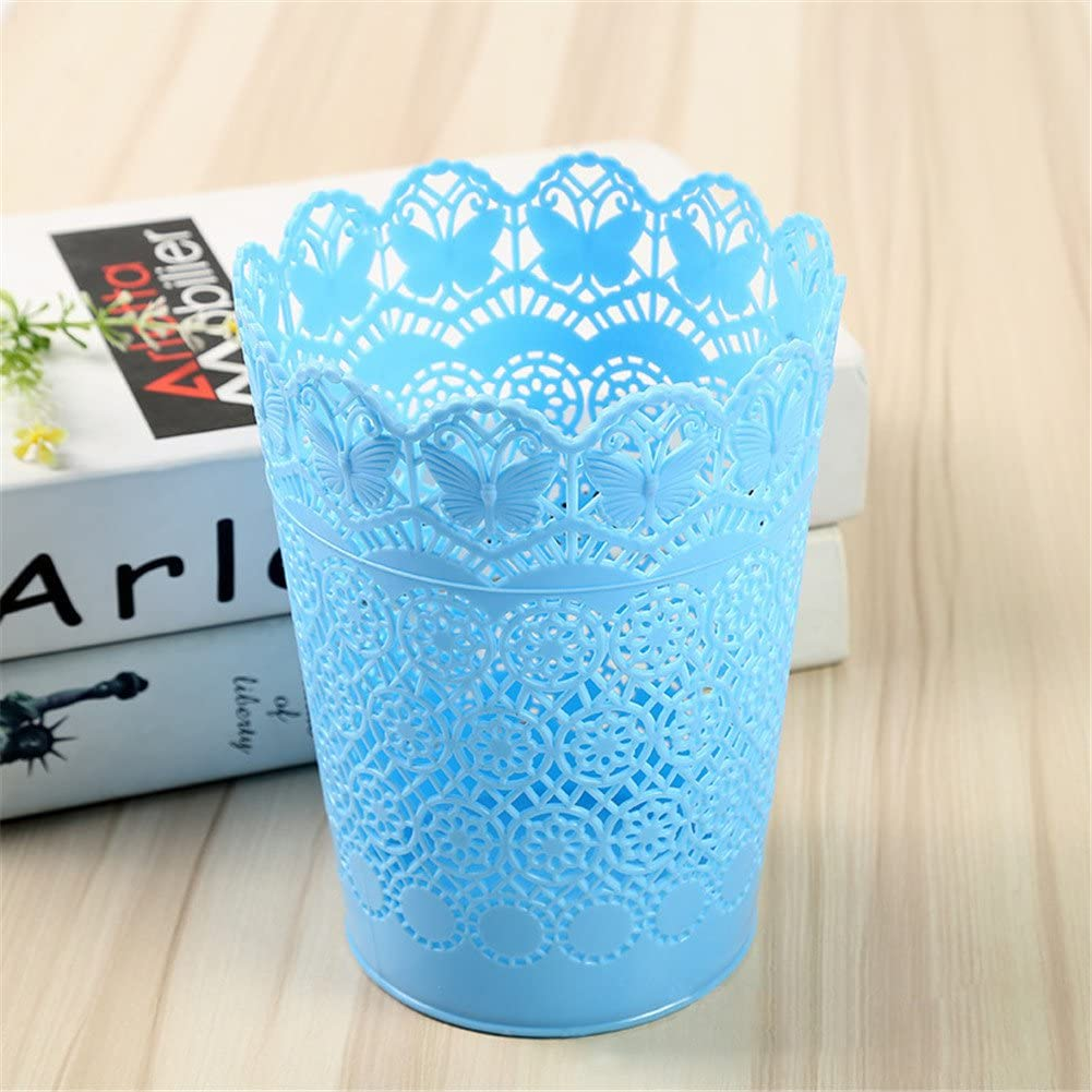 Kanggest Blue Hollow Trash Can Rubbish Waste Bin Circul Plastic Household Kitchen box for Bedroom