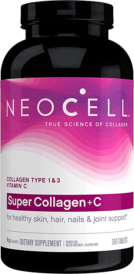 Amazon.com: NeoCell Super Collagen with Vitamin C, 360 Collagen Pills, #1 Collagen Tablet Brand, Non-GMO, Grass Fed, Gluten Free, Collagen Peptides Types 1 & 3 for Hair, Skin, Nails & Joints (Packaging May Vary): Health & Personal Care