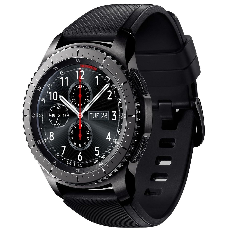 SAMSUNG SM-R760NDAAATO Samsung Gear S3 frontier silver Uhr Unisex Lederarmband Edelstahl Digital Schwarz