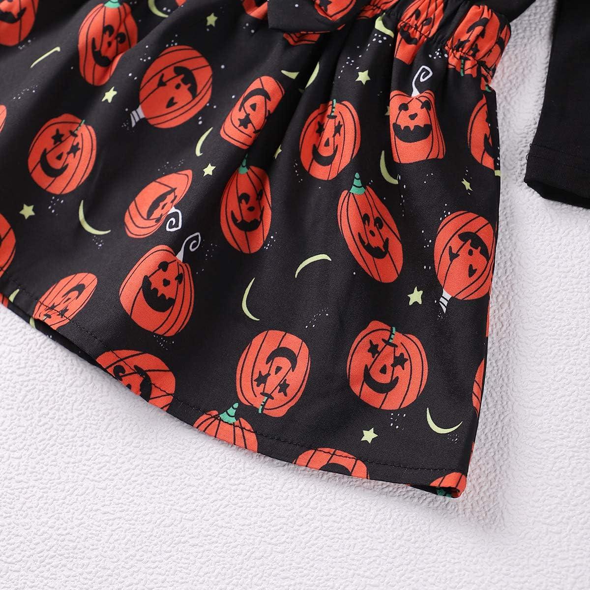 vestito da bambina con volant e zucca per Halloween Tuemos