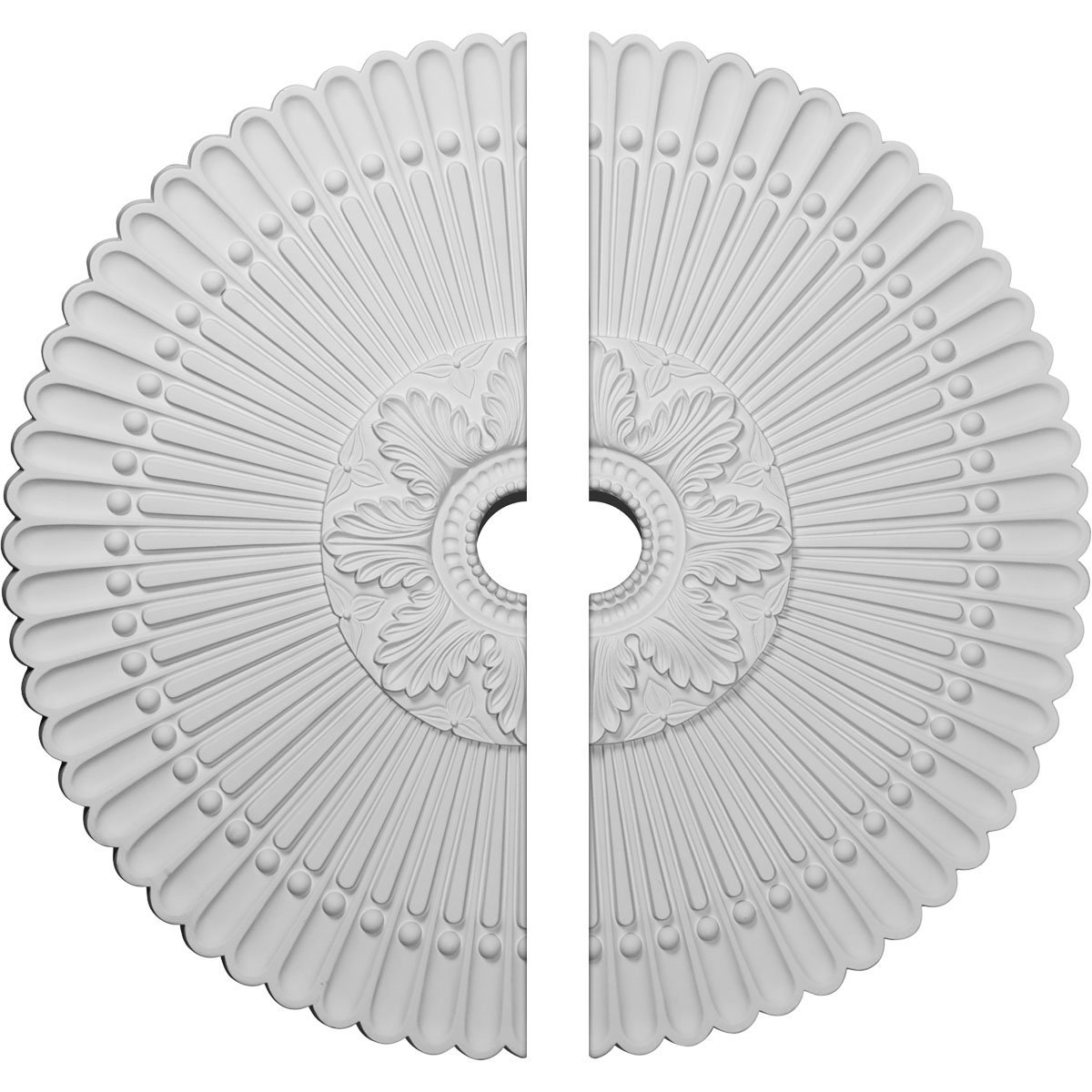 Ekena Millwork CM30NE2-03000 30'' OD 1/2'' ID x 3'' P Nexus Ceiling Medallion, Two Piece (Fits Canopies up to 2 3/4''), Factory Primed White