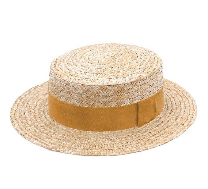 1f359739e18 Classic Italy - Porkpie Hat Straw Men Guinguette - Size 53 cm -  63-moutarde  Amazon.co.uk  Clothing