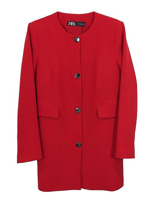 Zara 7842349601 Cappotto da Donna con Bottoni Rosso