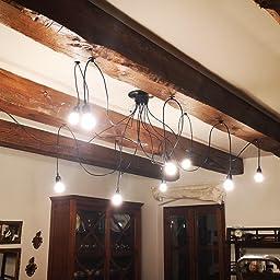 Lixada Lámpara de Techo Araña con 9 Brazos (Cada Uno con Cable 2m ...