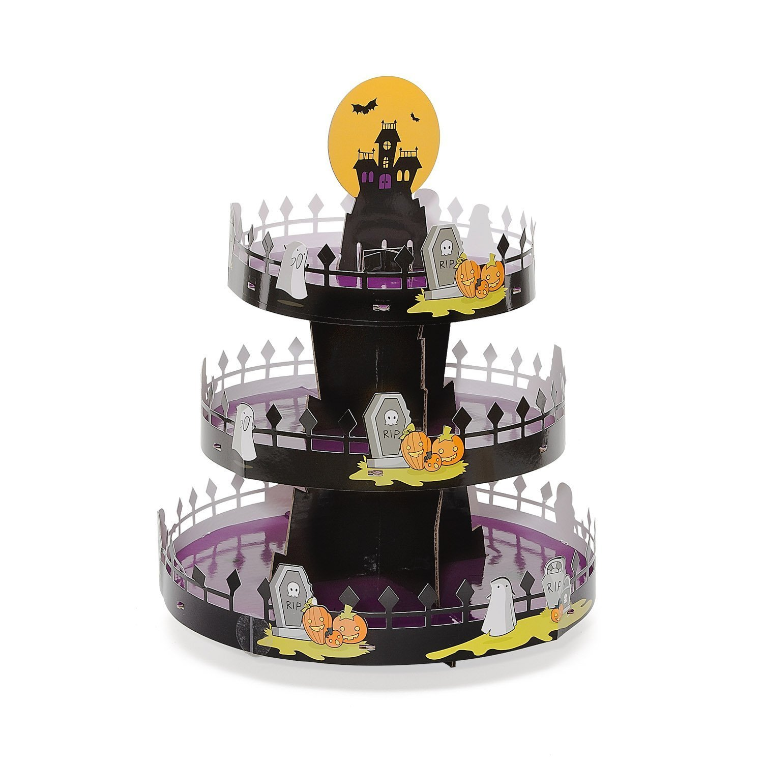 Sweet Creations 3 Tier Halloween Decorative 24 Cupcake Stand With Display Topper