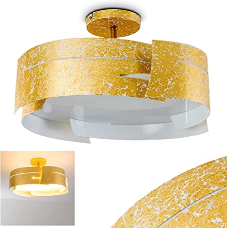 LED Luxus Decken Lampe gold Wellen Strahler Design Lampe Ess Zimmer Beleuchtung
