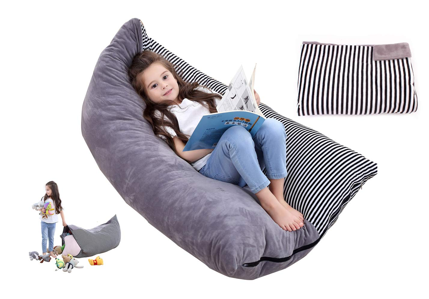 Stuffed Animal Storage Bean Bag Furniture Reading Chair Bean Bag Chair Cover Large Furry Bean Bag for Kids, Toddler, Adult