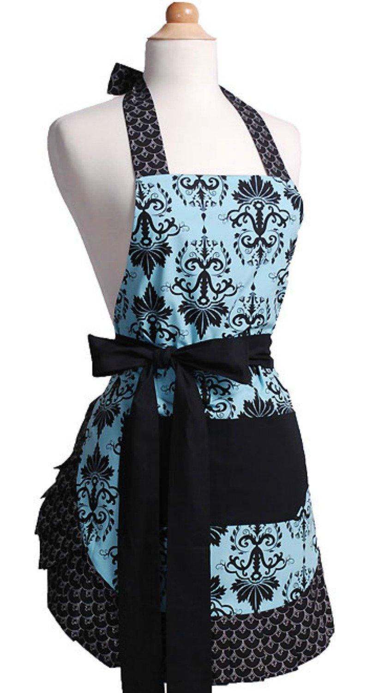 Amazon.com: Flirty Aprons Women\'s Original Apron, Aqua Damask: Home ...