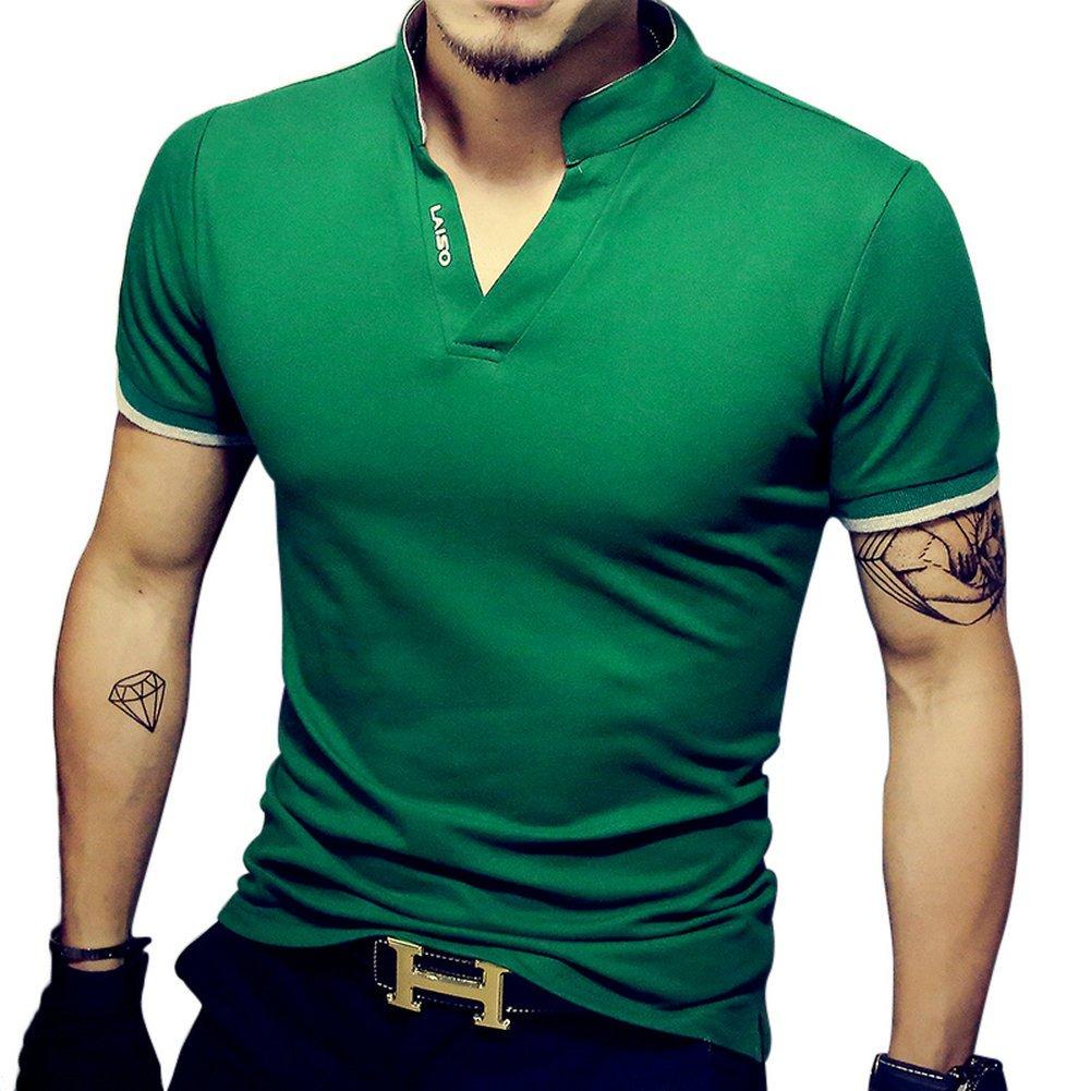 LOGEEYAR Mens Short-Sleeve Slim Fit Cotton Pique Polo Shirt,Large,1-green