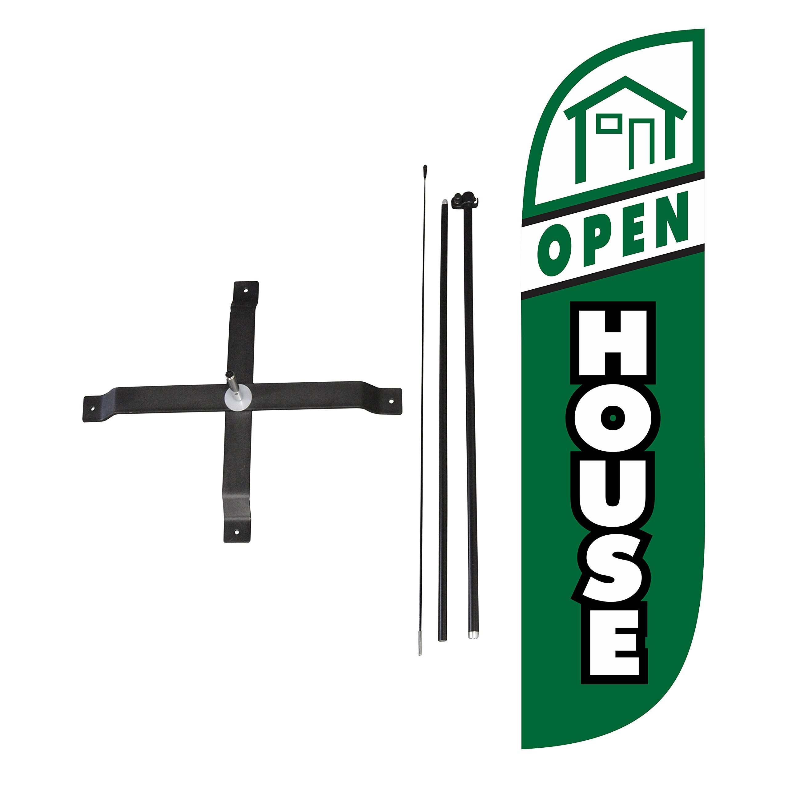 LookOurWay Open House Green Feather Flag Complete Set with Poles & X-Stand, 5-Feet by LookOurWay