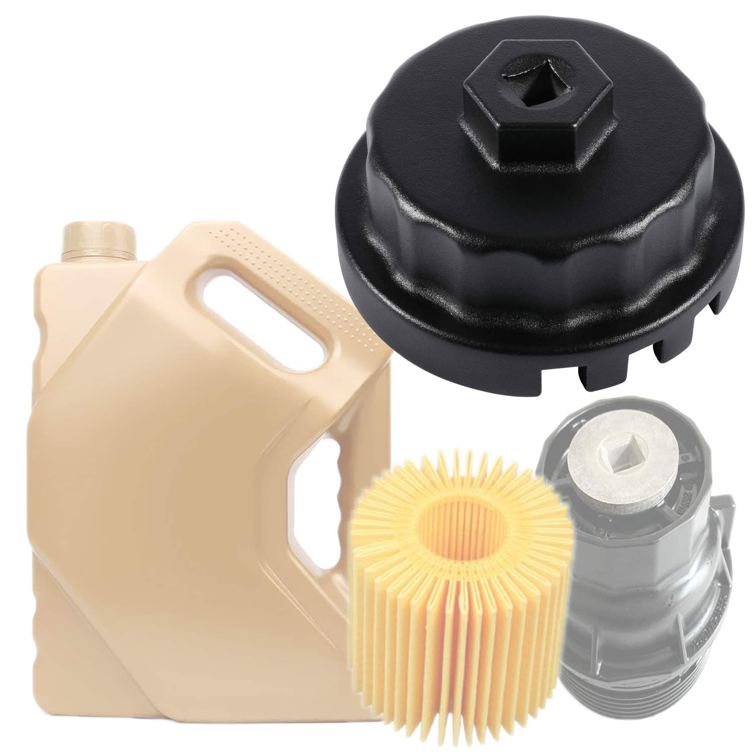 Oil Filter Wrench for RAV4,Camry,Tundra,Highlander,Sienna and More-Cup Style Oil Filter Cap Removal Socket Tool for 2.5-5.7L Engine with 64mm Cartridge Style Oil Filter Housing