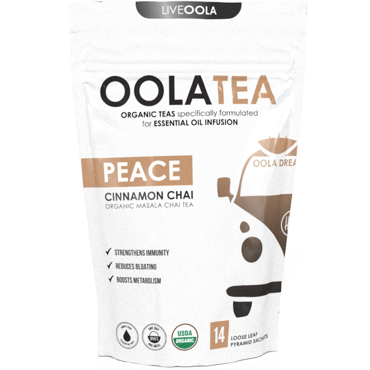 Oola Tea - PEACE 14 Count | Certified Organic Masala Chai | Reduces Bloating | Strengthens Immunity