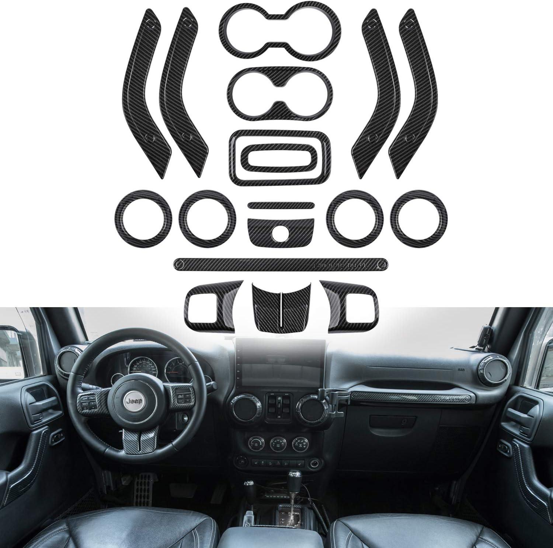 Opall 18PCS Full Set Interior Decoration Trim Kit Steering Wheel & Center Console Air Outlet Trim, Door Handle Cover Inner For Jeep Wrangler 2011-2017 2 Door &4 Door (Carbon Fiber 18PCS)