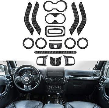 not for 2018 2019 JL JLU//Jeep Patriot Door Handle Cover for Jeep Wrangler JK JKU 11-18 2 Door/& 4-Door 12Pcs Full Set Interior Decoration Trim Kit Steering Wheel /& Center Console Air Outlet Trim