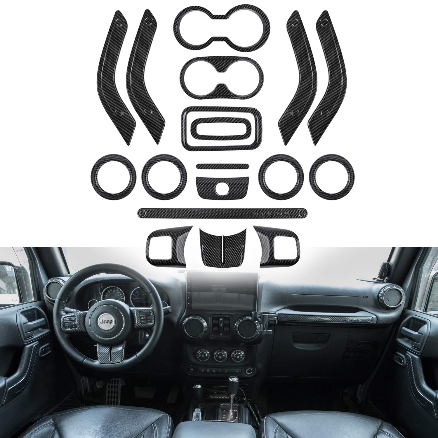 Opall 18PCS Full Set Interior Decoration Trim Kit Steering Wheel & Center Console Air Outlet Trim, Door Handle Cover Inner For Jeep Wrangler 2011-2017 2 Door &4 Door (Carbon Fiber 18PCS) by Opall