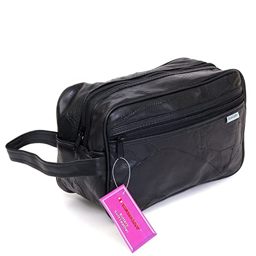 Amazon.com  New Leather Toiletry Bag Shaving Kit Travel Case Tote Make Up  Zippered Vanity  Clothing 95a1c69f74