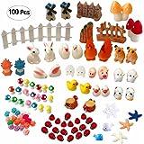 Atecy 100 Pcs Miniature Garden Ornaments Kit, DIY Fairy Garden Dollhouse Decor