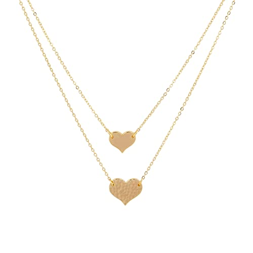 4108fd15603515 Mevecco Layered Heart Pendant Necklace,14k Gold Plated Love 2 Heart Love  Tiny Dainty Layering