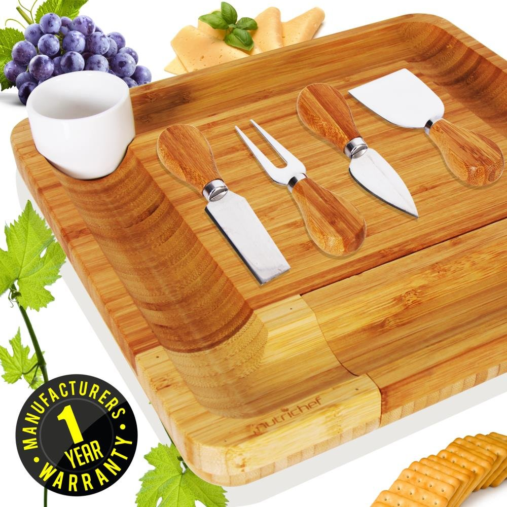 Bamboo Cheese Cutting Board Set - Bonus Condiment Cup - Closing Drawer Tray, 4 Stainless Steel Knives - Flat Wood Rectangle Serving Platter Plate Kit Fruit Meat - NutriChef by NutriChef (Image #6)