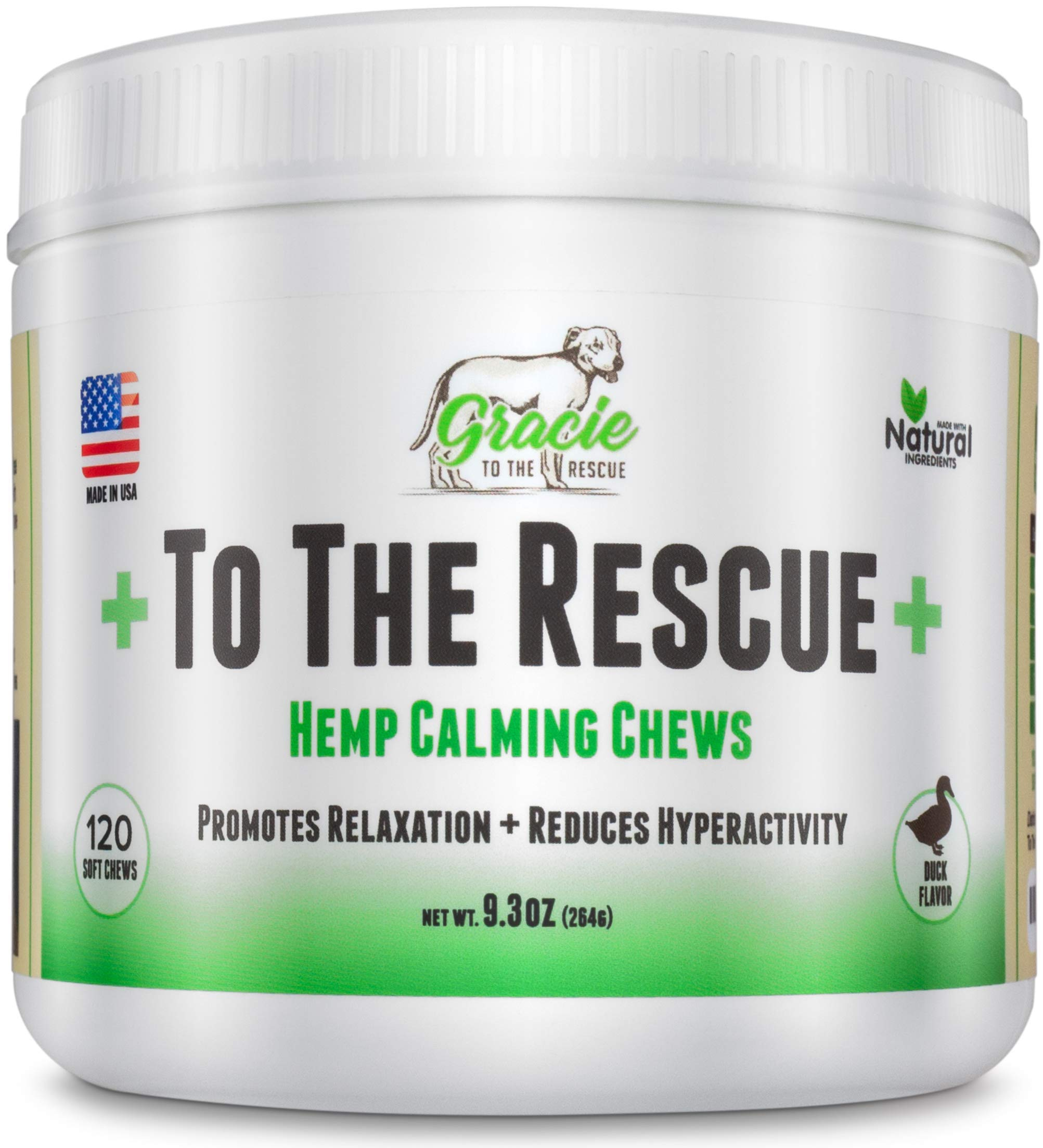 to The Rescue Calming Treats for Dogs | 120 Soft Chews Dogs -Treats for Anxiety Relief, Separation, Motion Sickness, Hyperactive Behavior, Composure Aid, Thunder Storms, Chewing & Barking by Gracie To The Rescue
