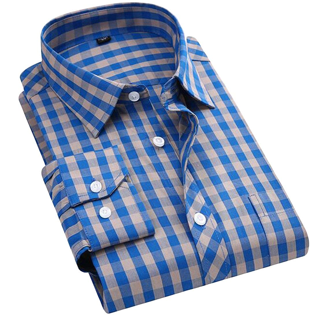Sweatwater Mens Regular Fit Long Sleeve Button Down Check Slim Fit Buffalo Shirts