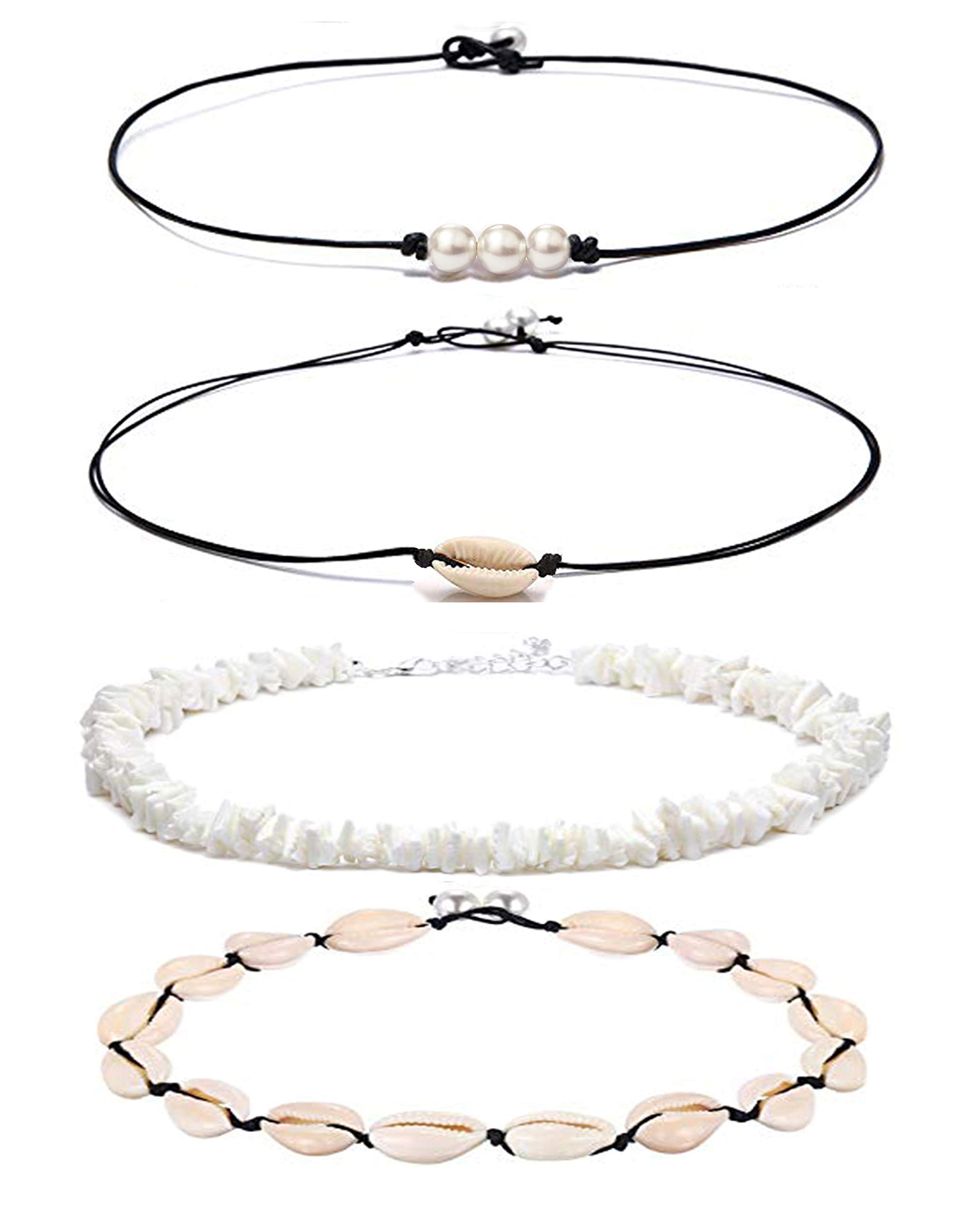 SEWEI Shell Pearl Choker Necklace for Women Hawaiian Seashell Pearls Choker Necklace Adjustable Cord Necklace Set (Shell pear Set 4)