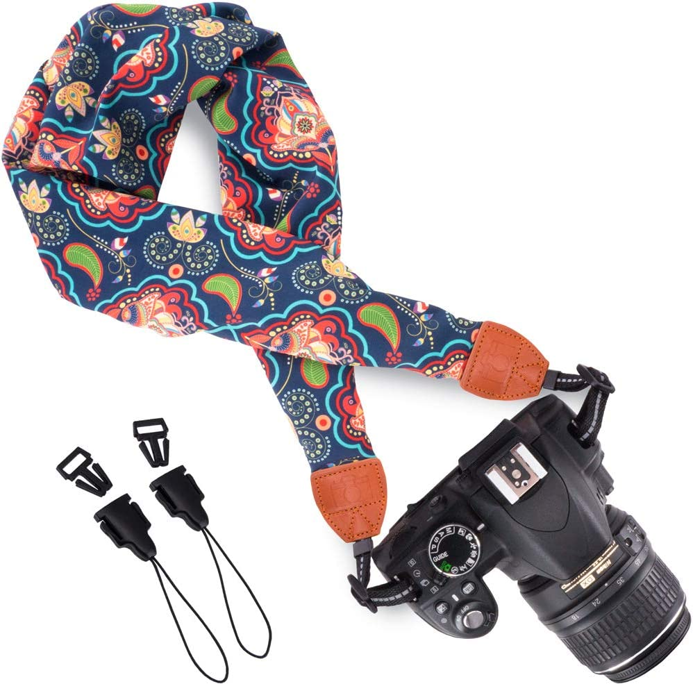 DC Wolven Soft Scarf Camera Neck Shoulder Strap Belt Compatible with All DSLR//SLR//Digital Camera //Instant Camera//Nikon//Canon//Sony//Pentax//Olympus//Leica//Fujifilm etc White Flower