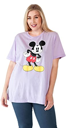 8981df527 Disney Plus Size Womens T-Shirt Mickey Mouse Standing Smile Print Lilac (1X)