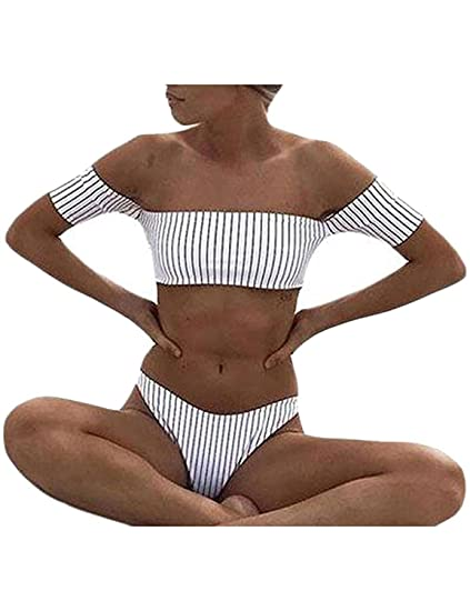 6dc5c1f19876b Amazon.com  QIANMEI Women Black and White Striped Bikini Set Off Shoulder 2-Piece  Bathing Suits Swimsuit  Clothing