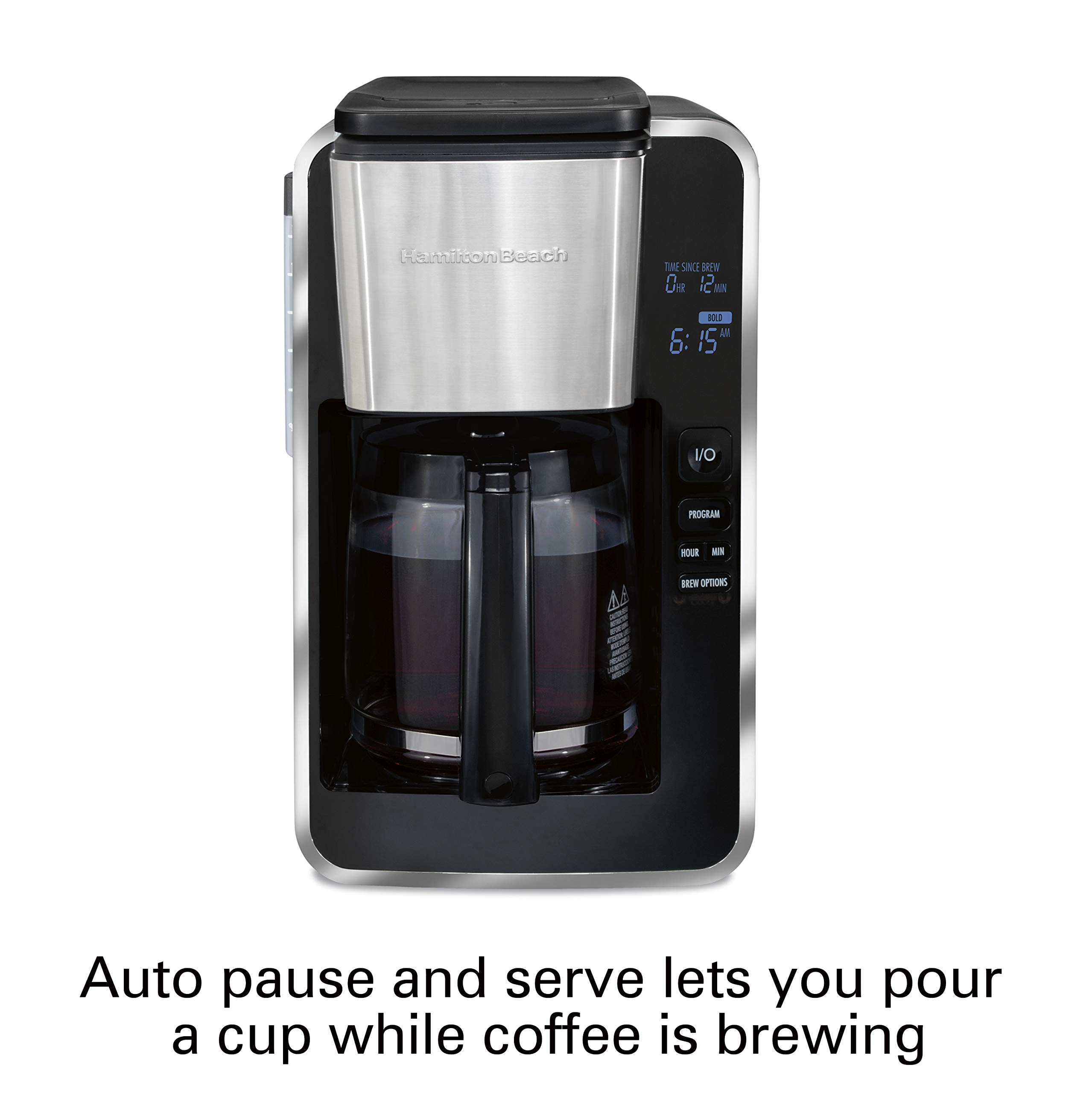 Hamilton Beach Programmable 12 Cup Coffee Maker, Easy Front Access Deluxe, Brew Options, Black and Stainless (46320), by Hamilton Beach (Image #5)