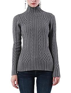ninovino Women s Long Sleeve Turtleneck Slim-Fit Knitted Sweater at ... 09583f5f9