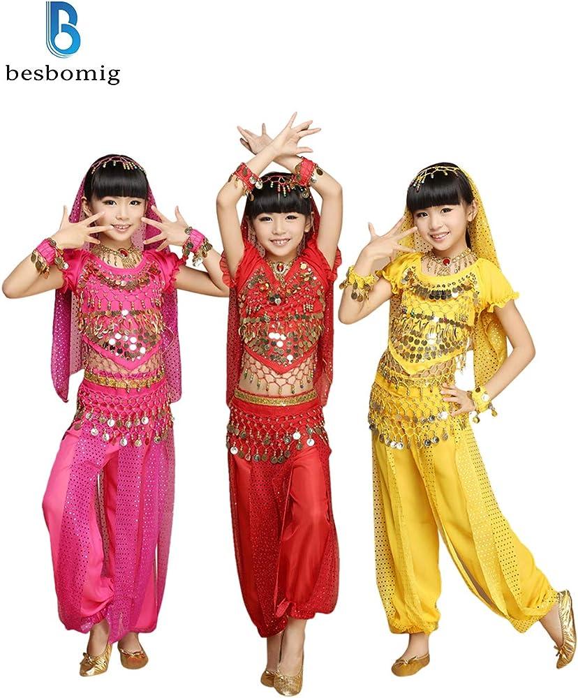 besbomig Kids Chicas Disfraz de Danza del Vientre - Niños Gasa ...