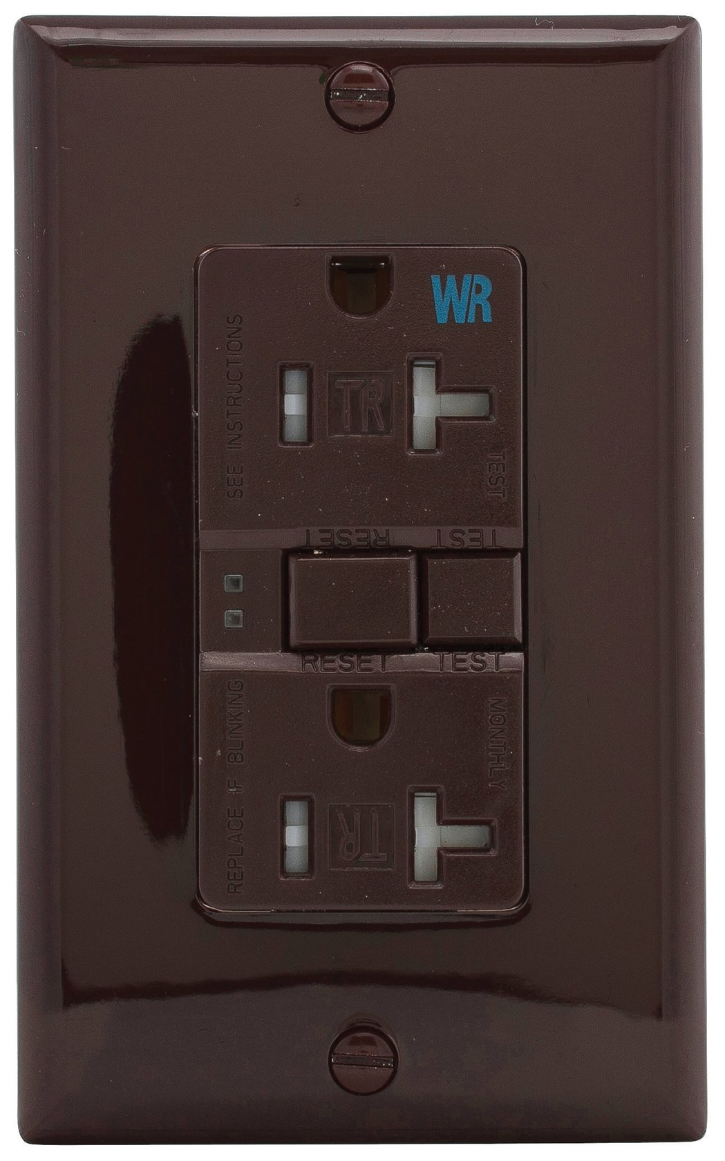 Eaton GFCI Self-Test 20A -125V Tamper & Weather Resistant Duplex Receptacle with Standard Size Wallplate, Brown
