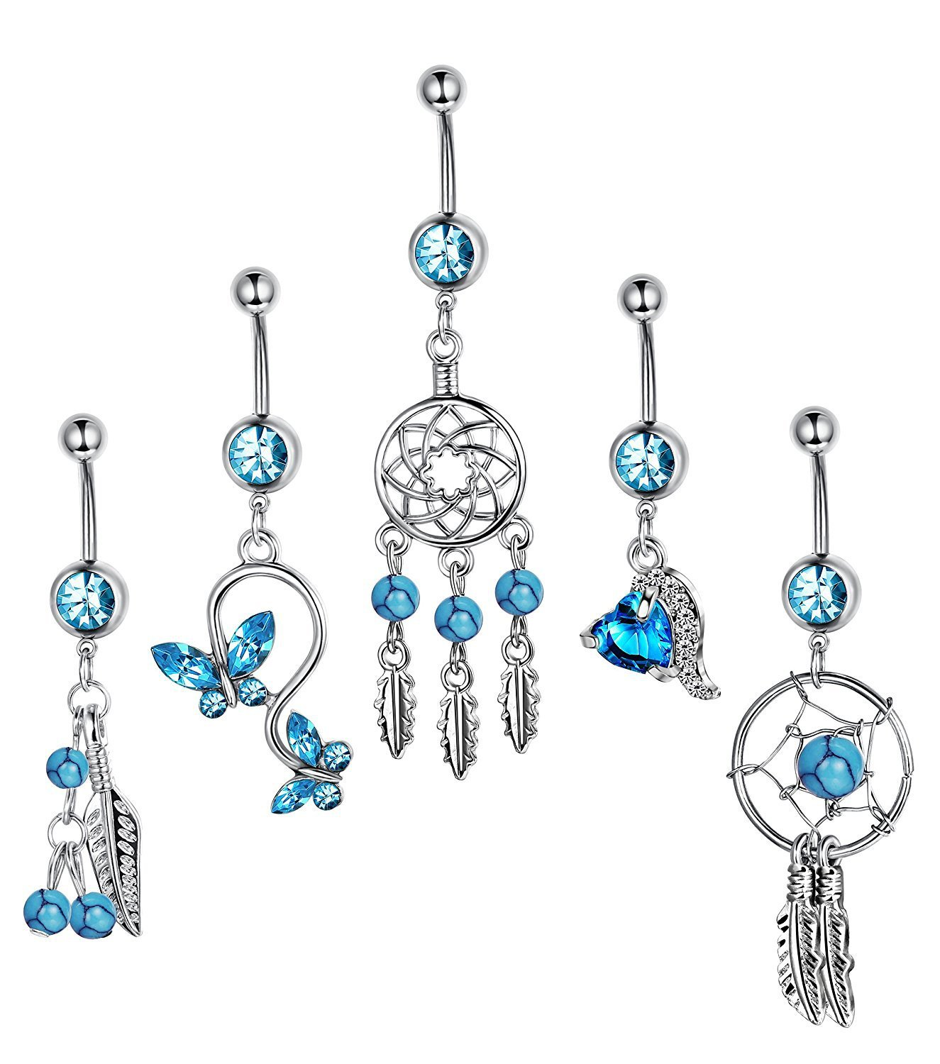 5pcs Blue 14 Gauge Belly rings tassel body piercing jewelry Women navel bars IrbingNii JE226