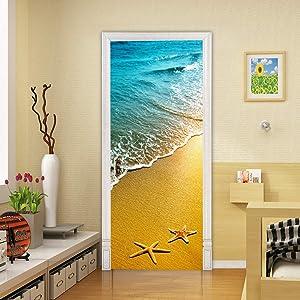 MISSSIXTY 3D Door Wall Murals Door Decals Wall Stickers Wallpaper DIY Home Decor Poster Decoration (Beach and Starfish)