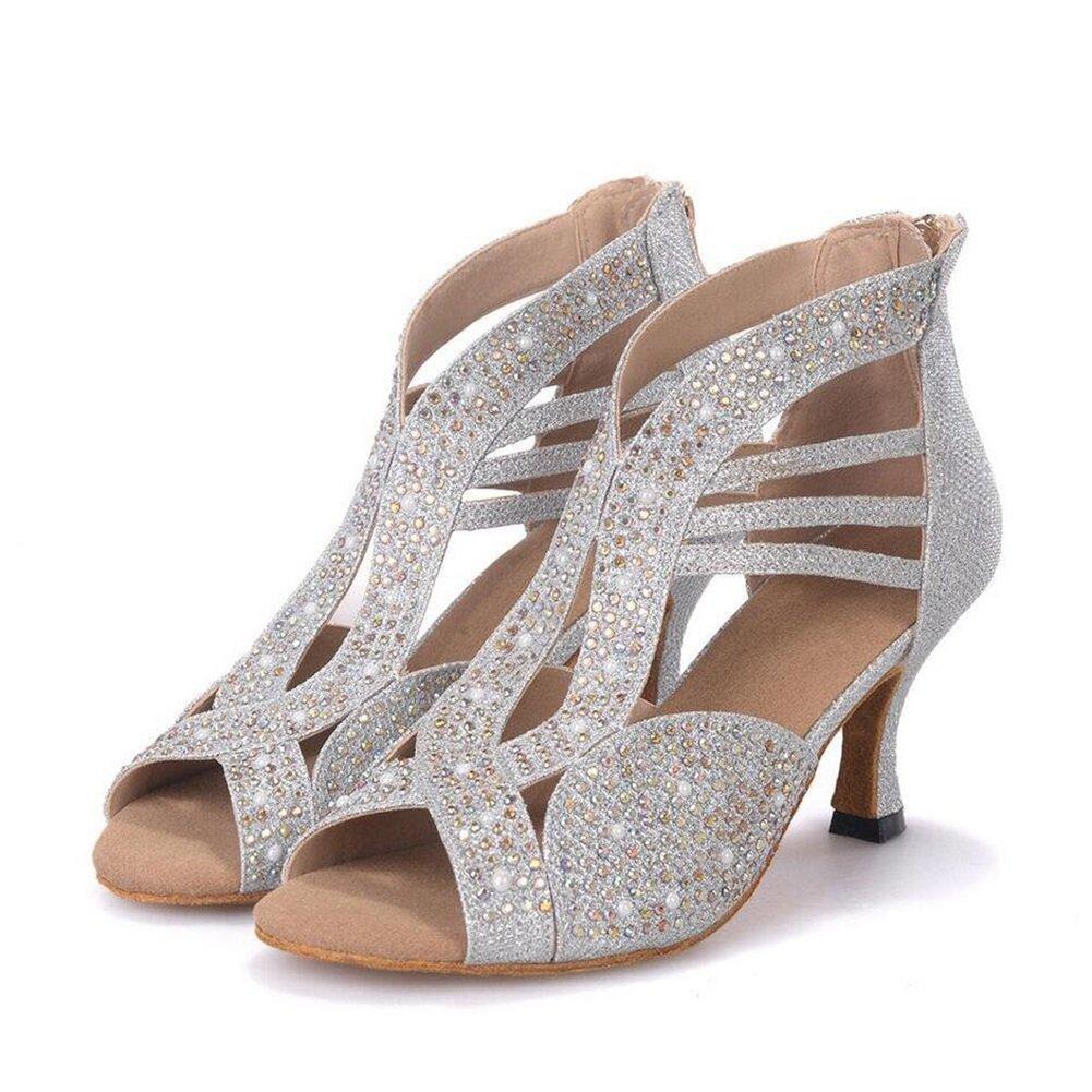 Onfly New Damen Latin Schuhe funkelnde Glitter Sandale Ballroom Schuhe/Fersen Performance/Professional Strass/Sekt Glitter Flared Heel eu size  34|EIN