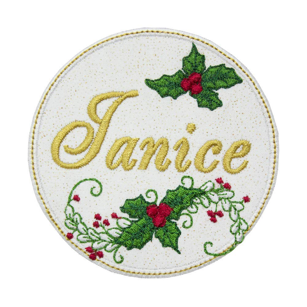 Christmas Holly Personalized Patch - Iron on patch