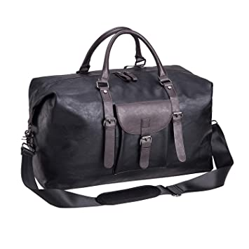 b63bf98d096f Oversized Leather Travel Duffel Bag, Weekender Overnight Bag Waterproof  Leather Large Carry On Bag Travel Tote Duffel Bag for Men or Women-Black
