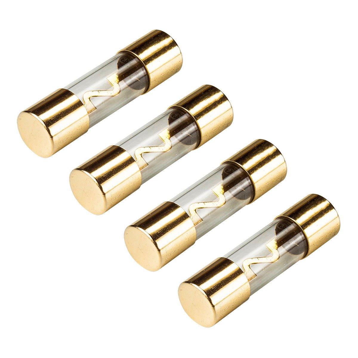 tomzz Audio 5800-015 KFZ AGU Sicherung Glas 80A, 10x38mm, vergoldete Kontakte, 4 Stü ck