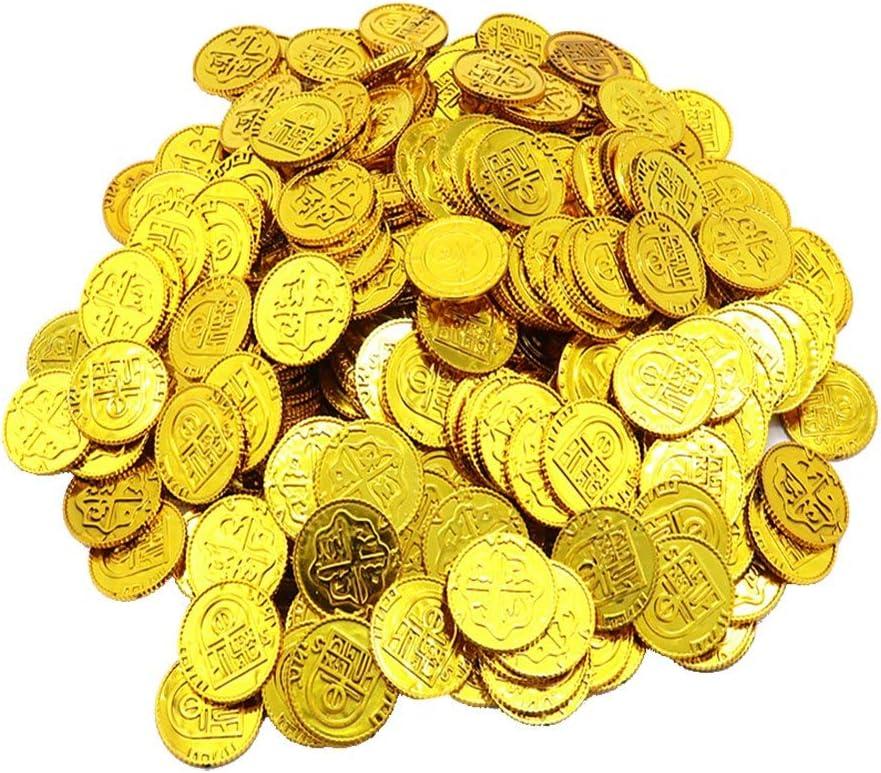 Toyvian Monedas de Oro de Piratas Juego de Juguetes de Monedas de plástico Apoyos Chips Playset Favor de Fiesta para niños (Golden) - 100pcs